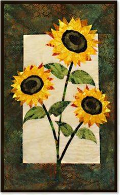 Sunflower floral appliqué quilt patterns by Debra Gabel of www.ZebraPatterns. #quilts #applique