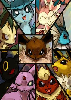All of the Eeveelutions :'D just amazing (they're all adorbs but my fav is Umbreon!!) #Pokemon #eeveelutions