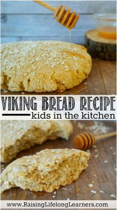 Easy recipe for viking bread -perfect for a Viking unit study or a Norway unit study. Kids Meals, Easy Meals, Bread Recipes, Cooking Recipes, Chicken Recipes, Muffin Recipes, Easy Recipes, Healthy Recipes, Healthy Foods