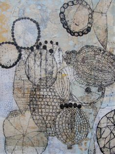 'Seeds and Beads' by Seattle-based printmaker & collage artist Eva Isaksen. Collage on canvas, 40 x 30 in. via Duane Reed Gallery Art Du Collage, Collage Artists, Canvas Collage, Nature Collage, Nature Artwork, Encaustic Painting, Painting & Drawing, Inspiration Art, Art Et Illustration