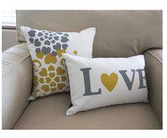 Reversible LOVE Pillow Cover - White/ Yellow combo. $34.00, via Etsy.