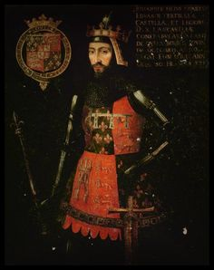 John of Gaunt, 1st Duke of Lancaster. The family is from a mixture of heritages that included the Moors. Note the noble fleur-de-lis embroidered all over his outfit...anyway, in case you don't know why, please study....