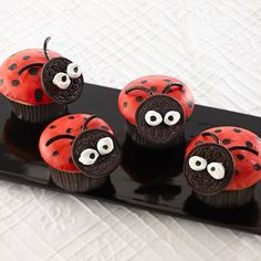 Glaze cupcakes with warmed canned white frosting then use our flavor paint, a mixture of vanilla extract and food color, to paint cute-as-can-be ladybugs.