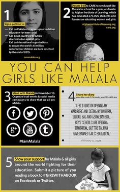 Malala Yousafzai was shot for demanding access to education, yet she was just one of millions of girls around the world who are denied this basic right. Here are five ways you can support Malala and the millions of girls like her.  Sign the petition: http://iammalala.org/  Donate:  http://www.afghaninstituteoflearning.org/  http://www.care.org/  Share her diary: http://news.bbc.co.uk/2/hi/south_asia/7889120.stm  Submit a picture to #GIRLWITHABOOK