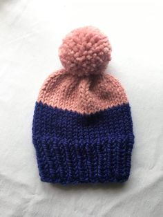 Hand knit color-blocked beanie from Gorla's Knits -- with a giant pom pom!