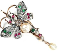 Imperial  Russian Diamond Demantoid  Ruby Brooch - The Three Graces