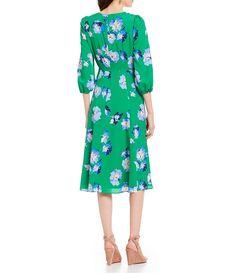 c0a5c56d91ea Eliza J Floral Print Tie Waist Faux Wrap Midi Dress