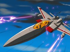 A digital remaster of a frame from the 1986 Transformers movie featuring Starscream in jet mode. Work of GrungeWerX from TFW2005