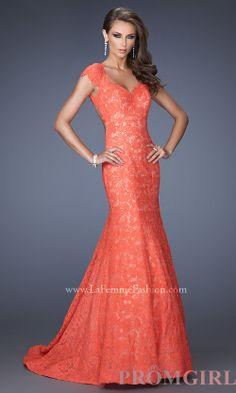 Lace Mermaid Gown, La Femme Long Lace Beautifuk