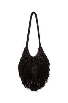 Shop for Indah Seasame Hand Crochet Fringe Bag in Black   Snake at REVOLVE. 8e2f909377