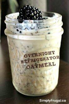 Overnight Refrigerator Oatmeal  http://www.simplyfrugal.ca/easy-breakfast-refrigerator-oatmeal/