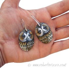 Pair of Tawny Owl Earrings Hand Painted Jewels | Etsy Tawny Owl, Owl Earrings, Crochet Earrings, Pairs, Owls, Rocks, Boucle D'oreille, Curls