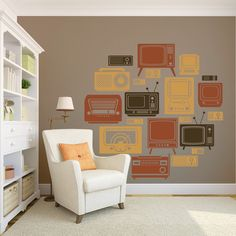 Retro TV decal available on Etsy. Custom Vinyl, Entertainment Room, Vinyl Designs, Vinyl Wall Decals, Tvs, Decorating Your Home, Gallery Wall, New Homes, Wall Decor