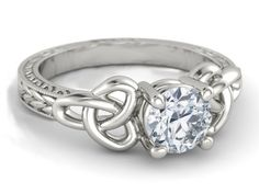 Engagement Ring - Wheat Engraved Celtic Engagement Ring in 14K White Gold.
