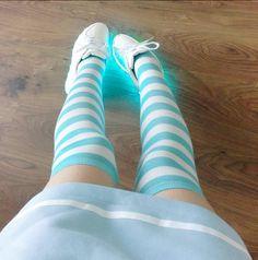 "Cute sweet stripes stockings Coupon code ""cutekawaii"" for 10% off"