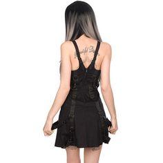 Belt mini denim jurk met straps en metal