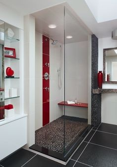Just the concept - black, white, and grey bathroom with red accents. White Bathroom Decor, Bathroom Red, Grey Bathrooms, Beautiful Bathrooms, Bathroom Interior, Small Bathroom, Glitter Bathroom, Bathroom Tiling, Bathroom Accents