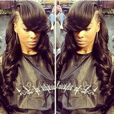 Deep Side Part Sew in Hairstyles