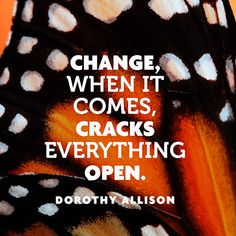 Change, when it comes, cracks everything open. — Dorothy Allison