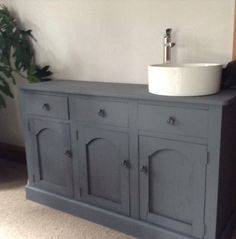 Upcycled rimu cabinet,made from old doors,chalk painted,using for double vanity in yet to be built bathroom.