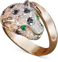 EFFY Signature Black and White Diamond (1-1/3 ct. t.w.) and Emerald Accent Panther Ring in 14k Rose Gold on shopstyle.com