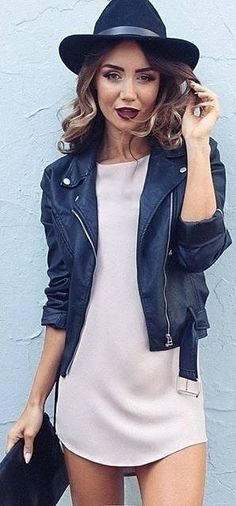 #fall #trending #outfits | Rocker Chic Biker Jacket + Nude Little Shift Dress