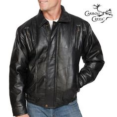 Nothing's more classic and stylish that a nice leather jacket. Whether out on the town or relaxing in the great outdoors, this men's leather bomber jacket is versatile and handsome no matter where you go.