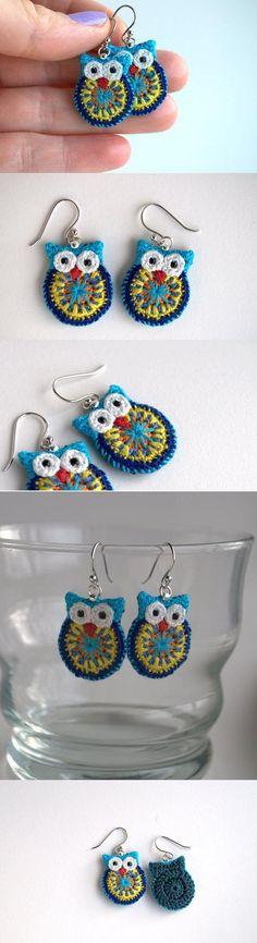 Crochet owl earrings – so cute!: Crochet owl earrings – so cute! Crochet Owls, Crochet Animals, Crochet Crafts, Crochet Flowers, Crochet Projects, Knit Crochet, Cotton Crochet, Diy Projects, Appliques Au Crochet