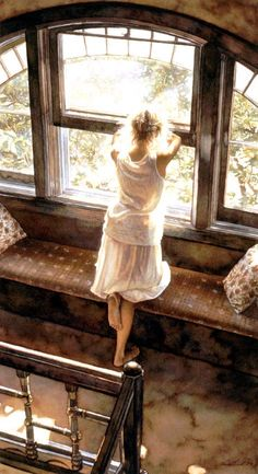 Steve Hanks - Sunday Afternoon - POSTER from the Greenwich Workshop Fine Art Gallery featuring fine art prints, canvases, books, porcelains and gift ideas. Double Exposition, Looking Out The Window, Through The Window, Foto Art, Watercolor Artists, Watercolor Painting, Beautiful Paintings, Oeuvre D'art, Artist At Work
