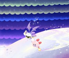 Kirby and Meta Knight are flying together! I like this!! Meta Knight, thanks for being so nice to Kirby for us!! Hehe.