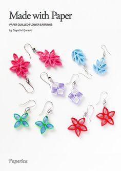 DIY Paper Quilling jewelry tutorial - Paper Quilled flower earring/pendants - Instant download PDF - How to do paper quilling without a tool...