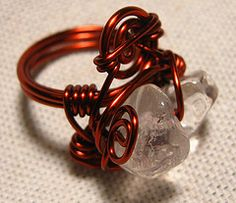 Chunky Crystal Rock Quartz wrapped in copper wire ring. Copper Rings, Wire Rings, Copper Jewelry, Copper Wire, Bangles, Bracelets, Jewelries, Wire Wrapped Jewelry, Glitters