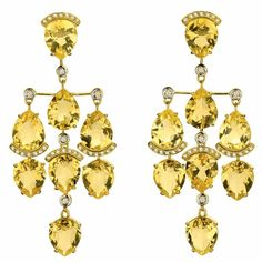 Citrine and diamond earrings by Brumani