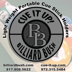 "Home of the patented ""Cue it Up!"" cue stick holders and Billiard supplies"