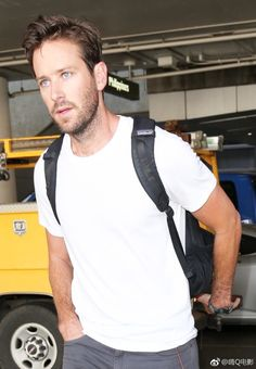Floof and scruff. Perfection. Ben FC is Armie Hammer - LAX, April 11th 2017