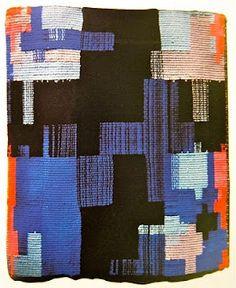 "Francine Du Plessix Writer (With Joel Oppenheimer, poet) Anne Albers card weaving. Anne Albers ""Monte Alban"" 1936 Frances Kuntz in . Textiles, Textile Patterns, Textile Design, Print Patterns, Fabric Design, Black Mountain College, Card Weaving, Tapestry Weaving, Wall Tapestry"