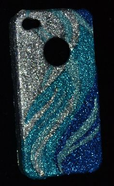 iPhone 4 cell phone SPARKLE & SHINE bling hard case Blue Ocean Wave handmade | eBay