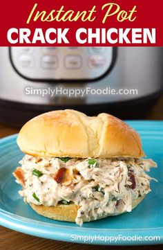 Instant Pot Crack Chicken is shredded chicken, cheese, ranch, & bacon! A popular Instant Pot chicken recipe. This pressure cooker crack chicken is the best! Shredded Chicken Sandwiches, Shredded Chicken Recipes, Easy Chicken Recipes, Best Instant Pot Recipe, Instant Pot Dinner Recipes, Instant Recipes, Instant Pot Pressure Cooker, Pressure Cooker Recipes, Pressure Cooking
