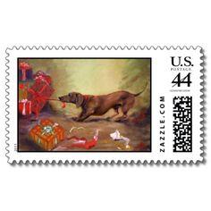 Dachshund Christmas Stamp! I need this my for Christmas cards!