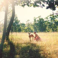 Meadow, woman, deer, sunlight, perfection