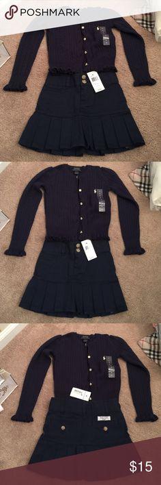 Ralph Lauren girls 2 piece set skirt and sweater Ralph Lauren 2 piece set. Skirt and sweater navy blue new with tags skirt is a. Sz 4 sweater is a sz 5 Ralph Lauren Matching Sets