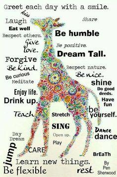 Dream Tall with positive attitude. giraffe art and inspiration Attitude Positive, Positive Thoughts, Positive Quotes, Attitude Quotes, Positive Changes, Negative Thoughts, Quotes To Live By, Me Quotes, Change Quotes