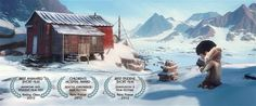 """In the short animation """"Tuurngait,"""" an Inuit father searches for his son in the arctic after the boy gets lost chasing a bird. The animation was a Beau Film, Cgi, Pixar, Animation 3d, Computer Animation, Nyc With Kids, Color Script, Festivals Around The World, Film D'animation"""