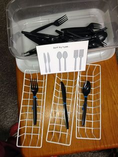 Work Boxes LOL funny, because whoever took the photo, didn't notice the items are sorted wrong! hahaPre-Vocational Work Boxes LOL funny, because whoever took the photo, didn't notice the items are sorted wrong! Life Skills Classroom, Life Skills Activities, Teaching Life Skills, Autism Activities, Sorting Activities, Classroom Setup, Cognitive Activities, Work Activities, Teaching Activities