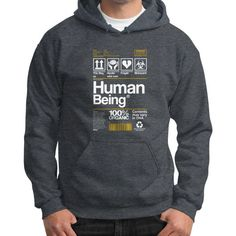 Human Being Gildan Hoodie (on man)