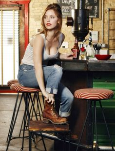 "Kelli Garner in jeans and white tank top at ""My Generation"" season 1 promo shoot."