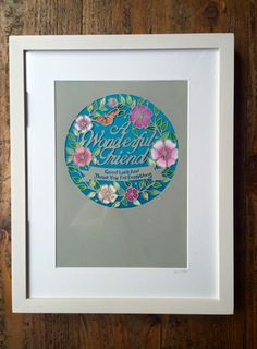 A wonderful friend papercut with painted back by Louise Dyer, Louspaperlace