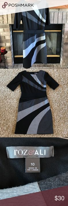 Dress Barn black and gray dress Dress Barn black and gray belted dress. Size 10 Dress Barn Dresses