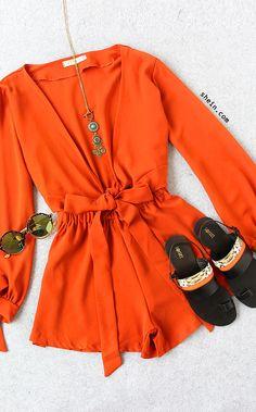 Orange Cross Wrap Slit Tie Sleeve Romper