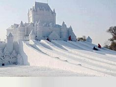 China, Snow Castle in Harbin Snow Festival